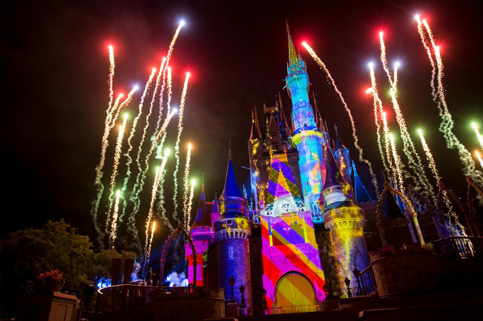 Fireworks display, Once Upon A Time, over Cinderella Castle.