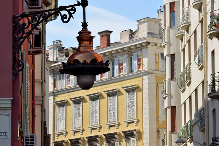 A decorative street lamp in a European city