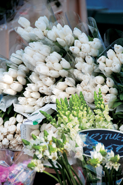 Bouquets of white roses for sale in front of a market