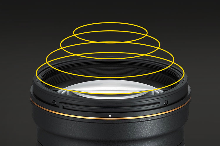 A photo of a lens with concentric circles illustrated to demonstrate the Phase Fresnel's purpose