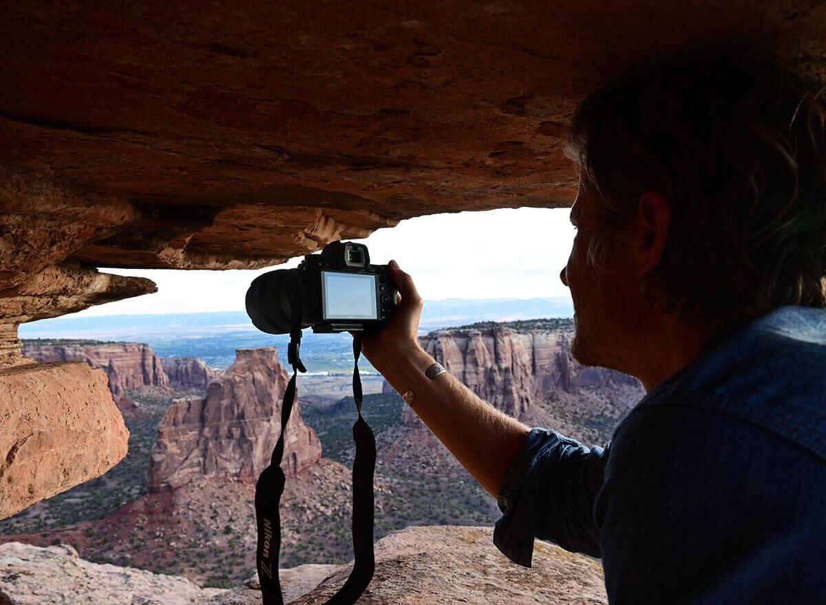 Man using camera handheld