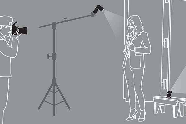 View the Off-Camera Flash with Background Light diagram