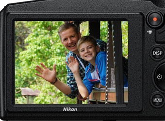 Photo of a mother and daughter in a photo on a Nikon COOLPIX camera's LCD.