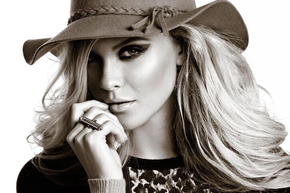 Dixie Dixon Black And White Headshot Photo Of A Female Model Wearing Large Hat