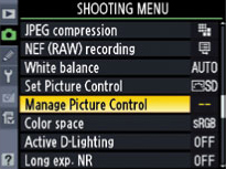 manage picture controls screenshot