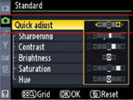 picture controls quick adjust screen