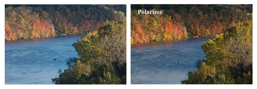 Before and after photo of a river and foliage with a polarizer
