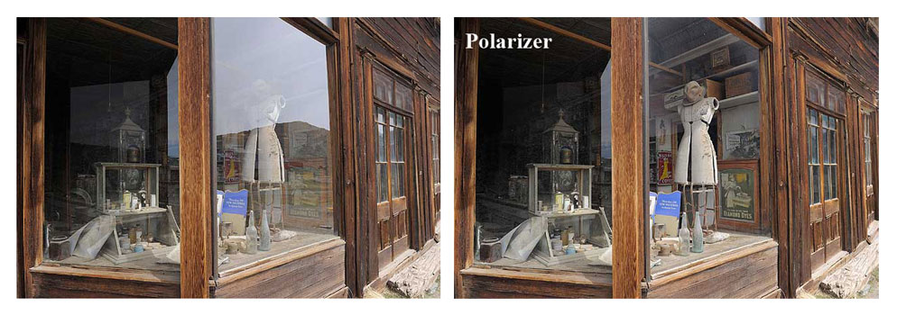 Before and after photo of a store window with a polarizer
