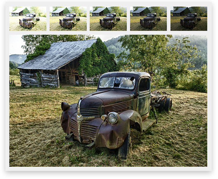 Tony Sweet photo brackets of rusted truck in field, HDR and end result image