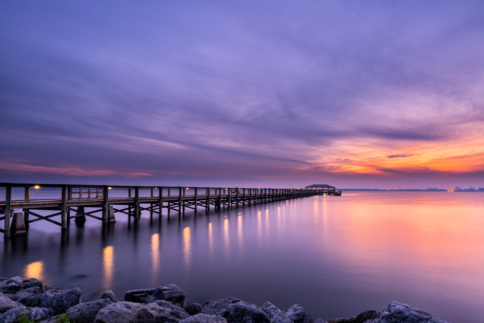 Deborah Sandidge Photo Of A Pier And Beach In Florida At Sunset