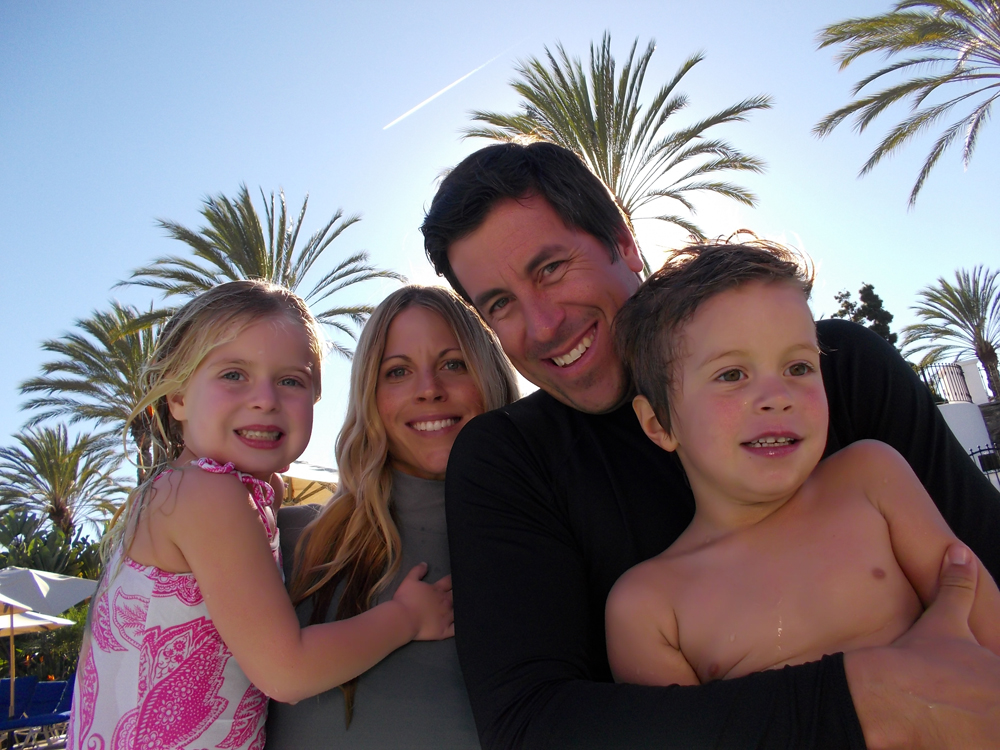 photo of a family, backlit