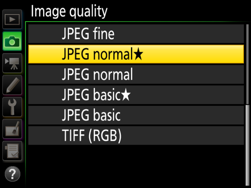 screengrab of the camera menu showing JPG file format
