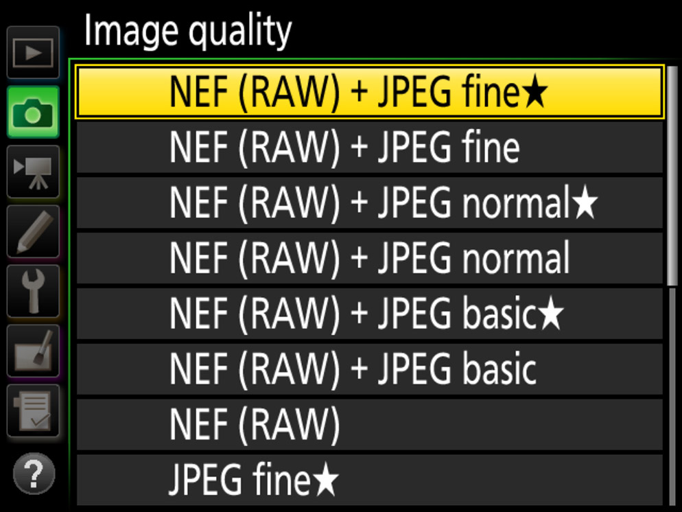 screenshot showing RAW + JPG selection in the file format menu of the camera