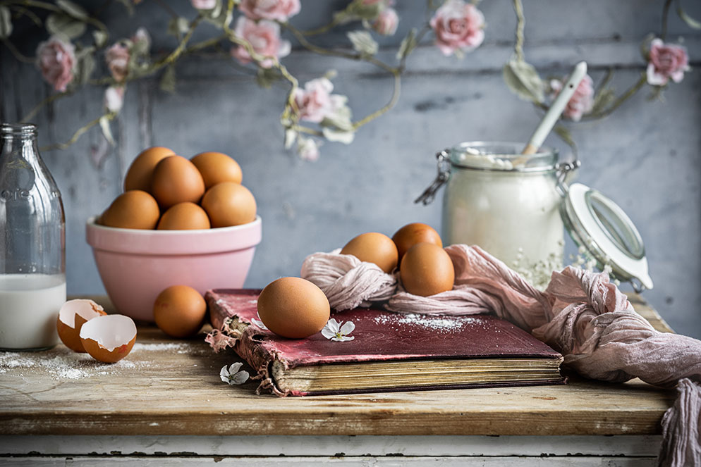 Donna Crous photo of baking ingredients on a styled table
