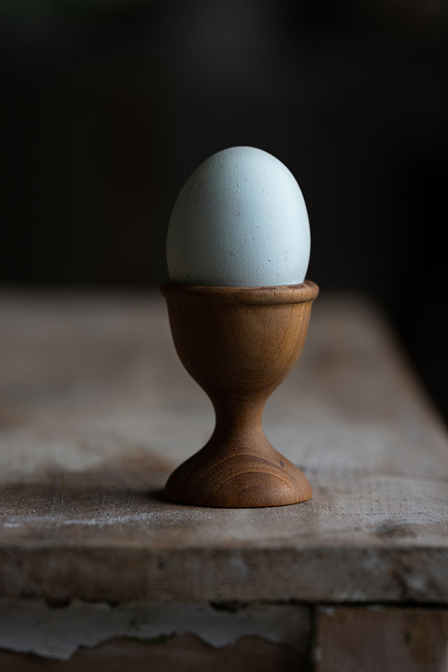 photo of an egg in an egg cup showing highlight and shadow from side lighting