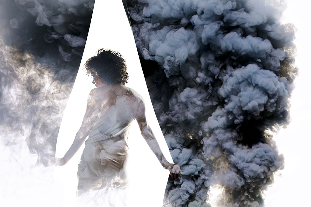 Andrew Hancock multiple exposure photo of a woman and a curtain of smoke