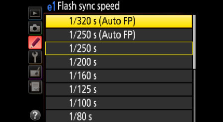 Flash sync speed menu showing the options for Auto FP High Speed Sync