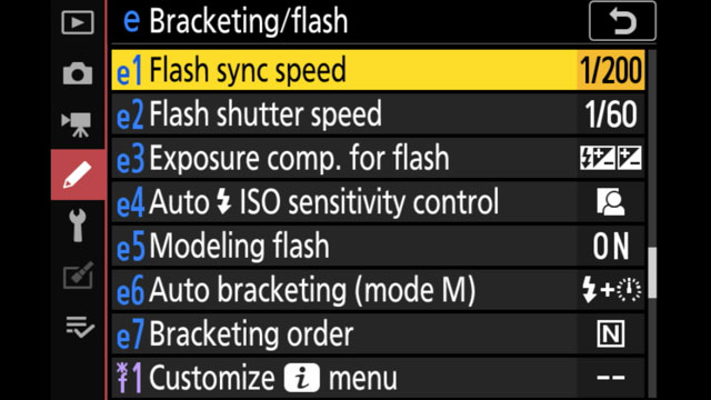 menu screen on the camera's LCD showing the flash sync speed options