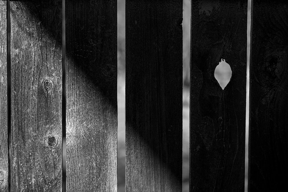 Tom Bol photo of a wooden fence in partial shadow, in B&W