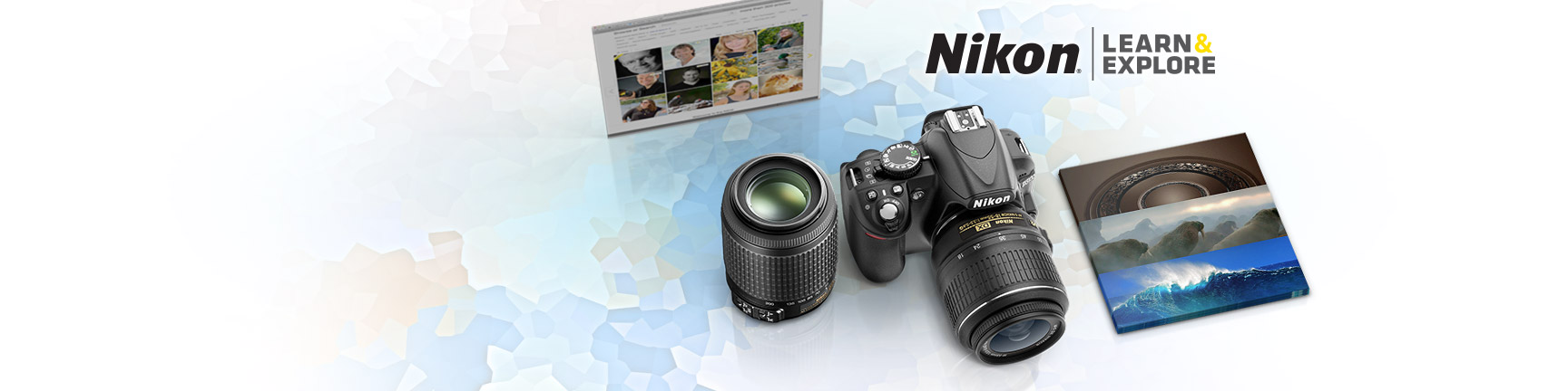 promo image showing layout of the article grid, camera with lens and showcased images from the Nikon Ambassadors