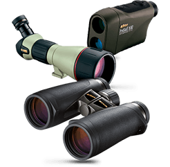 sport optics hero image showing Nikon binoculars, a scope and rangefinder