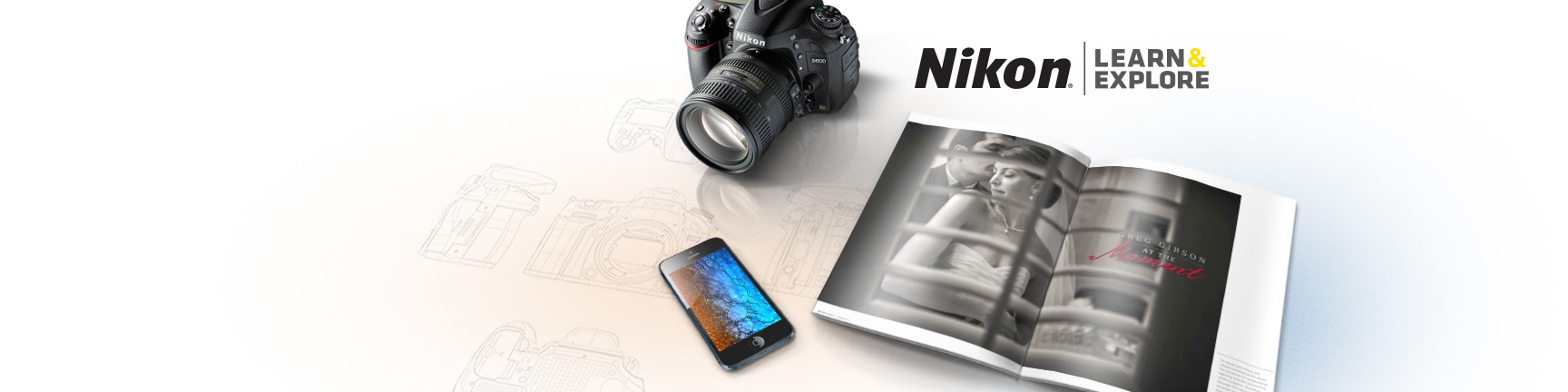 three still images, an image in an iPhone, the Nikon Learn and Explore logo, a map flag, high ISO icon and Nikon World magazine page spread