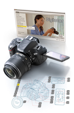 image of a Nikon DSLR and Digitutor screenshot illustration
