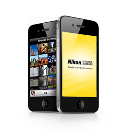 photo of two iPhones with the Nikon L&E app on the screens