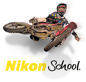 Nikon School logo and photo of a motocross racer